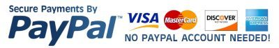Secure payments by PayPal. No PayPal account needed